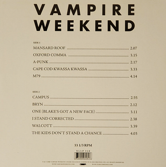Vampire Weekend - One (Blake's Got A New Face) notas para el fortepiano